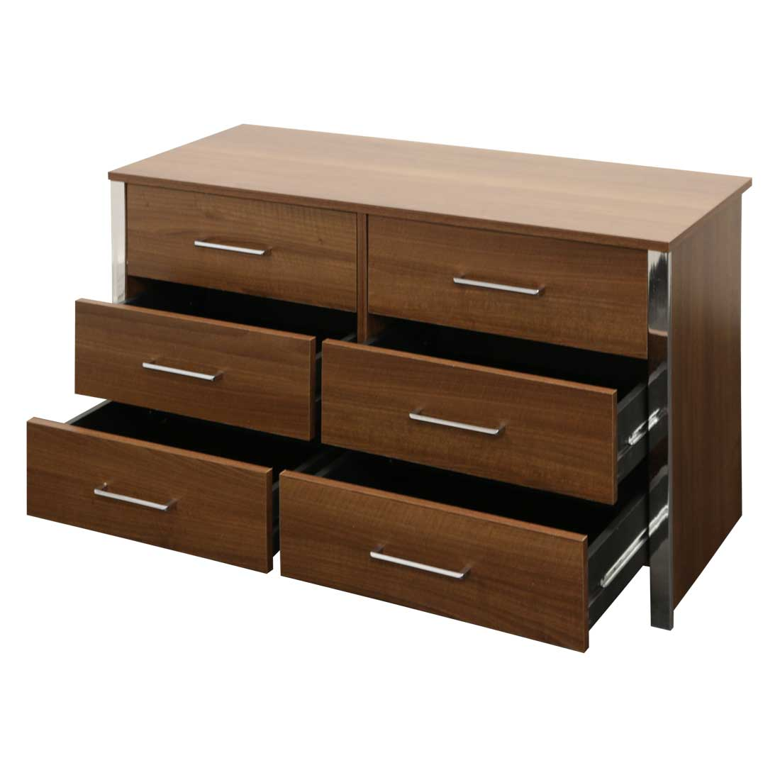 GOSPORT WIDE 6 DRAWER CHEST WALNUT